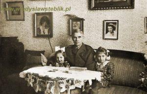 Władysław Steblik z córkami brata Franciszka, Krystyną po prawej i Aleksandrą po lewej.