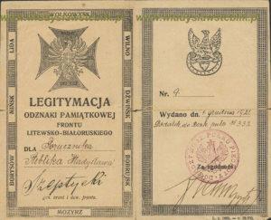 """Legitymacja odznaki pamiątkowej """"Front Litewsko-Białoruski"""""""